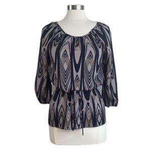 BANANA REPUBLIC Gray Print 3/4 Sleeve Drawstring W
